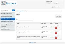 Buzzient gives you publishing capability to initiate outbound social messages